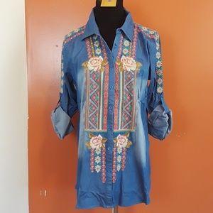 Chambray BOHO embroidered shirt